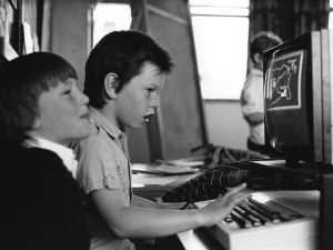 Two pupils at Hardwicke School in Herefordshire using a computer terminal, June 1987. (Photo by Steve Eason/Hulton Archive/Getty Images)