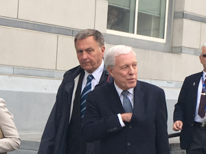 Former Port Chairman David Samson leaves the courthouse in Newark following his sentencing.