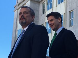 Baroni (right) and attorney Carlos Ortiz address reporters following the Bridgegate sentencing.