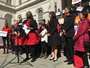 The City Council Women's Caucus rallied at City Hall on International Women's Day.