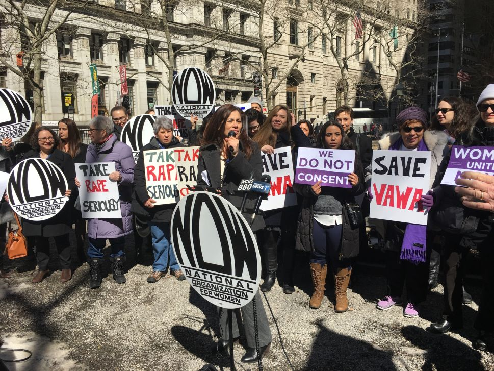 National Organization for Women Rips Trump on Domestic Violence Funding in Manhattan