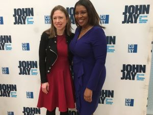 Former First Daughter Chelsea Clinton and Public Advocate Letitia James at James' roundtable on salary history and the wage gap in New York City.