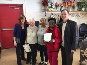 Zimmer (left) and Romano (right) together visited Hoboken seniors.