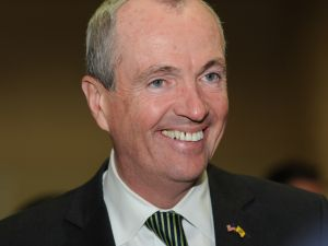 Candidate for Governor Phil Murphy smiles at the Morris County Democratic convention on March 21, 2017.