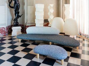 Sofas in Simons' Kvadrat textiles.
