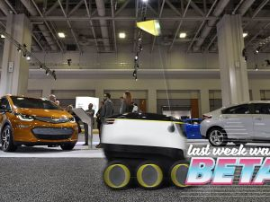 "A January 26, 2017 photo shows the Starship Technologies delivery robot at the Washington Auto Show in Washington, DC. The robots of the future will be coming soon, rolling along at lumbering pace, with those goods you just ordered. The six-wheeled, knee-high robots from startup Starship Technologies are part of a new wave of automated systems taking aim at the ""last mile"" delivery of goods to consumers. / AFP / Mandel Ngan / TO GO WITH AFP STORY BY ROB LEVER -""New wave of robots set to deliver the goods"" (Photo credit should read MANDEL NGAN/AFP/Getty Images)"
