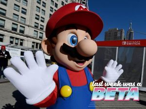 Mario poses for pictures as the Nintendo Switch is unveiled at a pop-up in Madison Square Park.
