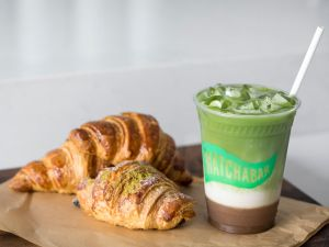 Matcha croissants pair well with matcha beverages.