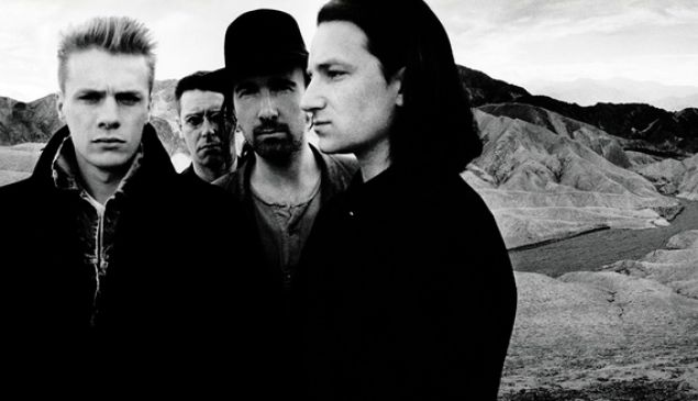 U2 on the cover of The Joshua Tree.