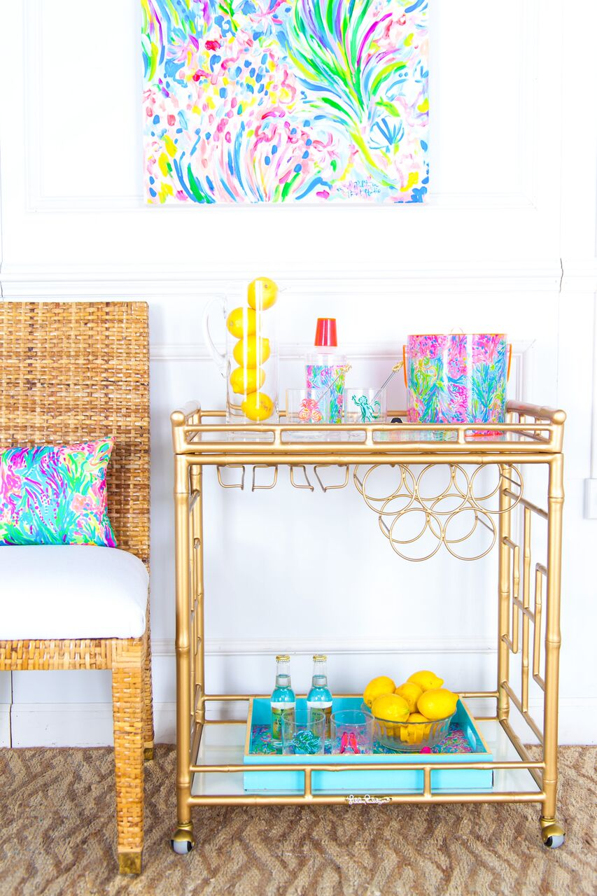 Mix Martinis On a $3,000 Lilly Pulitzer Bar Cart