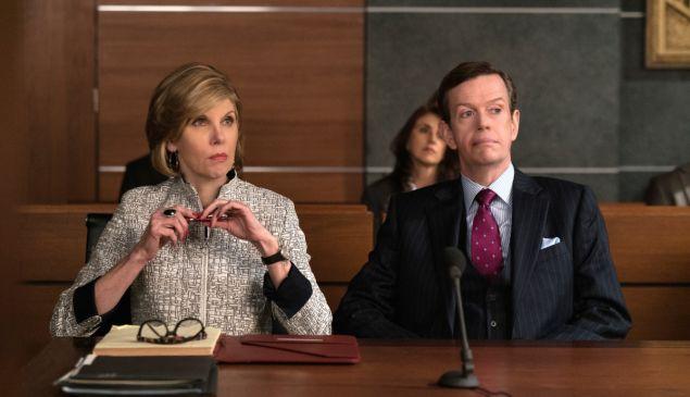 Christine Baranski as Diane Lockhart and Dylan Baker as Colin Sweeney.