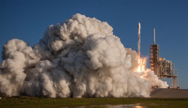 A SpaceX Falcon 9 launches from Kennedy Space Center.