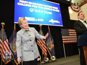 Hillary Clinton with Gov. Andrew Cuomo.