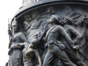 A detail of Arlington National Cemetery's Confederate Memorial – unveiled in 1914 – depicts a black soldier fighting alongside his white master.