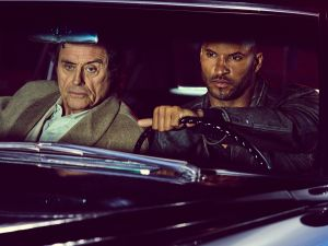 Ian McShane as Mr. Wednesday and Ricky Whittle as Shadow Moon.