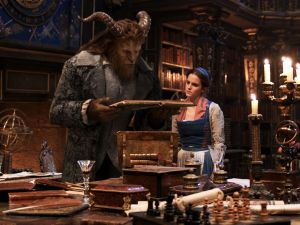 Dan Stevens as The Beast and Emma Watson as Belle.