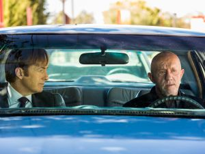 Bob Odenkirk as Jimmy McGill and Jonathan Banks as Mike Ehrmantraut.