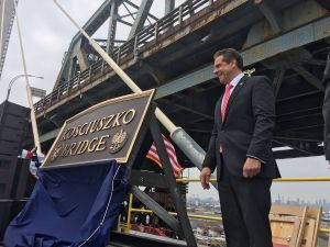 Gov. Andrew Cuomo at the grand opening ceremony for the Kosciuszko Bridge.