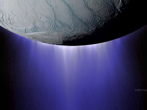 Geyser-like plumes on Enceladus.