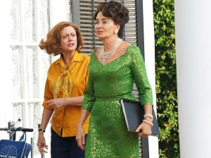 Susan Sarandon as Bette Davis and Jessica Lange as Joan Crawford.