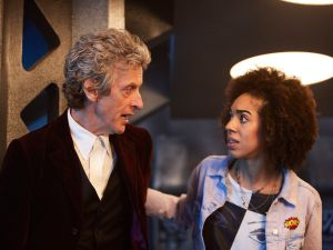 Peter Capaldi as The Doctor and Pearl Mackie as Bill.