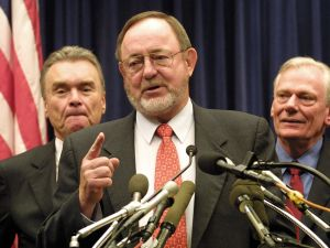 Rep. Don Young (center) speaks during a press conference in Washington, D.C. in 2001.