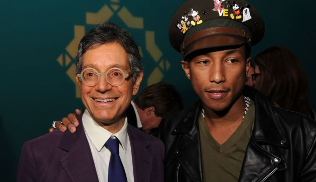 Jeffrey Deitch and Pharrell Williams attend The Kingdom of Morocco and Maybach dinner in celebration of Art Basel with Maria and Bill Bell, Jeffrey Deitch and MOCA at Raleigh Hotel on November 30, 2011 in Miami Beach, Florida.