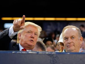 NEW YORK, NY - JULY 30: Donald Trump (L) and television personality Bill O'Reilly attend the game between the New York Yankees and the Baltimore Orioles at Yankee Stadium on July 30, 2012 in the Bronx borough of New York City. (Photo by Jim McIsaac/Getty Images)