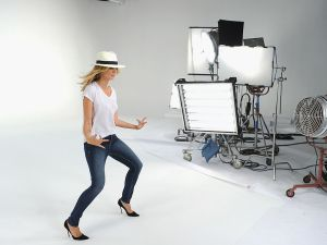 NEW YORK, NY - JUNE 16: Jordache Jeans Commercial Featuring Heidi Klum -- Behind The Scenes at Highline Studios on June 16, 2012 in New York City. (Photo by Dimitrios Kambouris/Getty Images for Jordache)