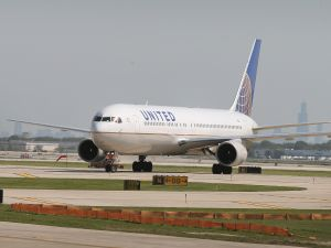 A United Airlines jet taxis at O'Hare International Airport.
