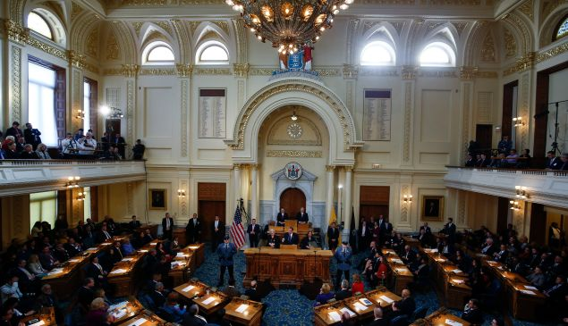The Assembly chamber in the New Jersey statehouse.