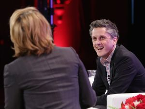 BEVERLY HILLS, CA - OCTOBER 06: Aaron Levie, CEO, co-founder and chairman of Box (R) and Sharon Waxman, Founder & CEO of TheWrap speak onstage during TheWrap's 6th Annual TheGrill at Montage Beverly Hills on October 6, 2015 in Beverly Hills, California. (Photo by Alison Buck/Getty Images for TheWrap)