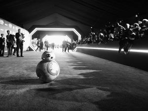 "HOLLYWOOD, CA - DECEMBER 14: (EDITORS NOTE: Image has been shot in black and white. Color version not available.) Sphero BB8 attends the World Premiere of ""Star Wars: The Force Awakens"" at the Dolby, El Capitan, and TCL Theatres on December 14, 2015 in Hollywood, California. (Photo by Charley Gallay/Getty Images for Disney)"