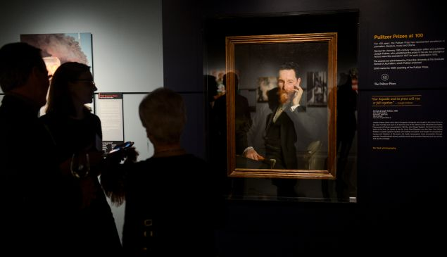 A portrait of Joseph Pulitzer, oil on canvas, by John Singer Sargent, is on display at the Newseum during the Centennial Celebration of Pulitzer Prizes at The Newseum on January 28, 2016 in Washington, DC.