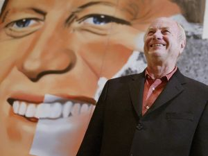 James Rosenquist poses on May 12, 2004 in front of his painting 'Elect President'.