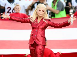 SANTA CLARA, CA - FEBRUARY 07: Lady Gaga sings the National Anthem at Super Bowl 50 at Levi's Stadium on February 7, 2016 in Santa Clara, California.