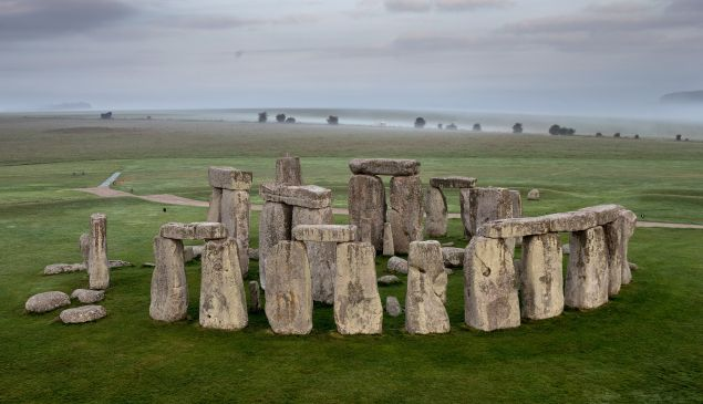 The ancient neolithic monument of Stonehenge near Amesbury is viewed from a hot air balloon on September 7, 2016 in Wiltshire, England. To mark the 30th anniversary of Stonehenge becoming a World Heritage Site, English Heritage has launched a competition offering members of the public the chance of a hot balloon ride which allows the chance to see a unique view of Stonehenge within in a wider prehistoric landscape but also the see the recent changes to its setting in recent years including the removal of the A344 and the old car park.