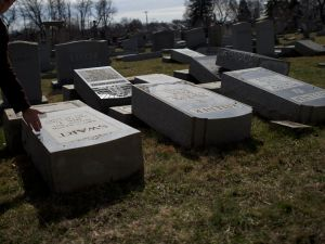 More than 100 headstones were vandalized at the Jewish cemetery in Philadelphia in Feb. 2017.