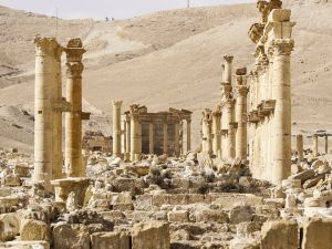 A damaged and ravaged Palmyra, Syria