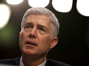 WASHINGTON, DC - MARCH 22: Judge Neil Gorsuch testifies during the third day of his Supreme Court confirmation hearing before the Senate Judiciary Committee in the Hart Senate Office Building on Capitol Hill, March 22, 2017 in Washington. Gorsuch was nominated by President Donald Trump to fill the vacancy left on the court by the February 2016 death of Associate Justice Antonin Scalia.