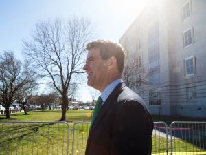 Bill Baroni leaving federal court in Newark after his sentencing on March 29.