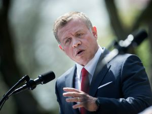 Jordan's King Abdullah II speaks during a press conference with US President Donald Trump in the Rose Garden of the White House on April 5, 2017 in Washington, DC.