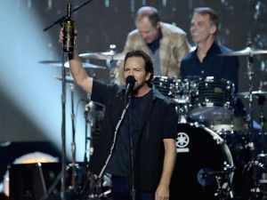 NEW YORK, NY - APRIL 07: Inductee Eddie Vedder of Pearl Jam performs onstage at the 32nd Annual Rock & Roll Hall Of Fame Induction Ceremony at Barclays Center on April 7, 2017 in New York City. Debuting on HBO Saturday, April 29, 2017 at 8:00 pm ET/PT (Photo by Mike Coppola/Getty Images)