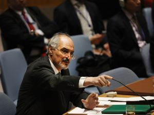 Syrian ambassador to the United Nations, Bashar Jaafari, speaks at a UN Security Council on April 12, 2017 in New York City.