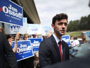 Democratic candidate Jon Ossoff speaks to the media during a visit to a campaign office as he runs for Georgia's 6th Congressional District in a special election to replace Tom Price, who is now the secretary of Health and Human Services, on April 17, 2017 in Marietta, Ga.