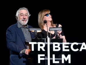 """Robert De Niro and Jane Rosenthal onstage at the """"Clive Davis: The Soundtrack of Our Lives"""" Premiere during the 2017 Tribeca Film Festival."""