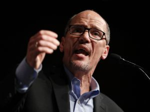 "DNC Chair Tom Perez speaks during a ""Come Together and Fight Back"" tour at the James L Knight Center on April 19, 2017 in Miami, Florida."