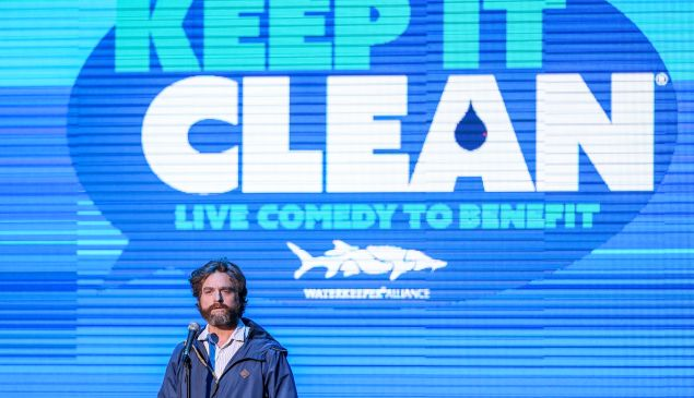 Zack Galifinakis performs at the Keep it Clean benefit in Los Angeles.