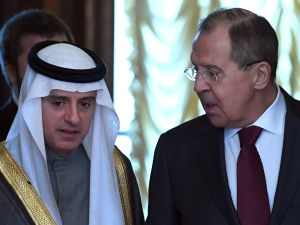 Russian Foreign Minister Sergei Lavrov welcomes his Saudi counterpart Adel Al-Jubeir during their meeting in Moscow on April 26, 2017.