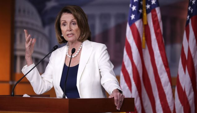 WASHINGTON, DC - APRIL 27: House Minority Leader Nancy Pelosi (D-CA) talks to reporters during her weekly news conference at the U.S. Capitol Visitors Center April 27, 2017 in Washington, DC. Pelosi gave President Donald Trump a letter grade for his performance as he approaches his 100th day in office.